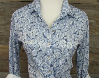 1990's Blue Daisy 70's-Inspired Long Sleeve Button-Down Blouse