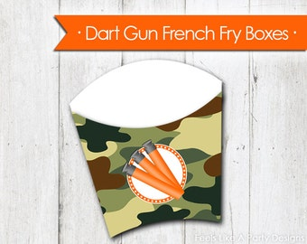 Dart Gun with Green Camo French Fry Box - Instant Download