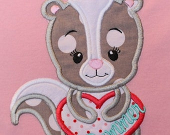 Skunk Valentine Applique Design INSTANT DOWNLOAD