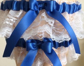 Royal Blue and White Lace Wedding Garter Set, Bridal Garter Set, Keepsake Garter, Prom Garter, Something Blue
