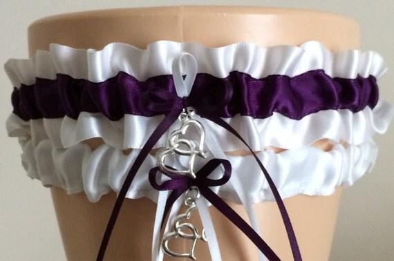 Wedding Garter Set Bridal Garter Set Plum Purple Garter Set