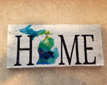 "Michigan home,  wood sign 12""x5""."