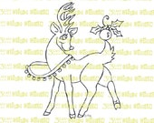Reindeer with Christmas Ornament Digital Stamp Instant Download