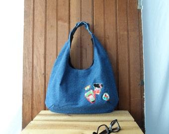 Denim Hobo Purse with Applique - shoulder bag, recycled denim, canvas