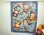 MONKEY WALL HANGING - Five Cute Monkeys Munch on Bananas and Swing From Vines - Blue, Delightful wall hanging for your child's room