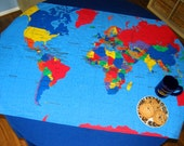 WORLD MAP TABLECLOTH or Wall Hanging - Learn Geography the fun way - Teachers, parents, campers - Also available as cloth panel