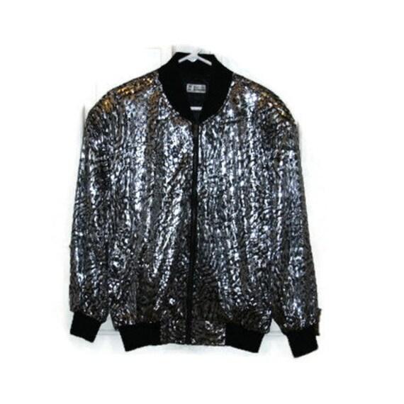 Womens Silver Sequin Jacket zip up by JM Fashion Jeongmin size