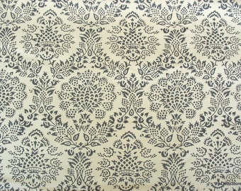 Damask Block Print Cotton Silk Blend Fabric by the Yard