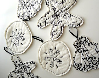 Coastal Tree Ornaments: Black & White Set