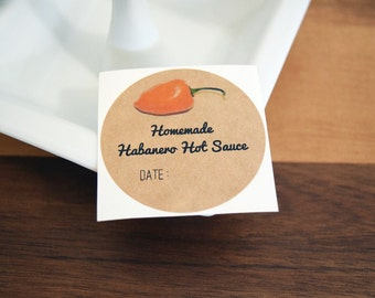 Habanero Chili Pepper Hot Sauce Labels. Homemade Habanero Chili Hot Sauce Mason Jar Labels Round Labels Stickers Gift Packaging