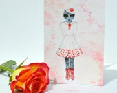 Card For Girls - Cat Card - Cat Girl Art - Whimsical Illustration - Cat In Pink Dress - Anthropomorphism - Romantic Gift, 'Miss Sunday Rose'