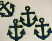 12 Navy Blue and Lime Green Anchor Nautical Cupcake Toppers, for Birthday or Baby Shower