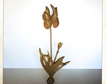 vintage brass orchid wall decor heavy large bulb flower