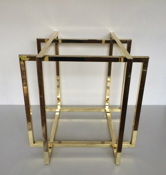 Brass side table base cube cage geometric squares gold glam - Cube table basse ...