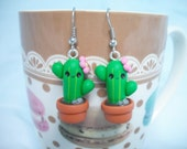 Cactus polymer clay earrings