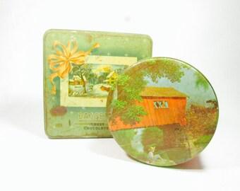 Vintage Tins, Vintage Chocolate Tin, Retro Cookie Tin, Metal Box,