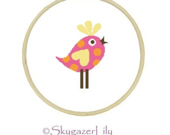 Modern Cross Stitch Pattern - Pink Yellow Bird - Easy Beginner Printable PDF Instant Download