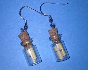 Message in a bottle earrings