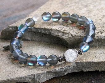 Beautiful frosted plated crystal gemstone wrist mala bracelet
