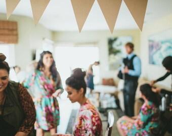 Bridesmaids robes, Bridesmaid gift, kimono crossover floral cotton robes, monogrammed custom made, wedding photo prop, pre wedding party