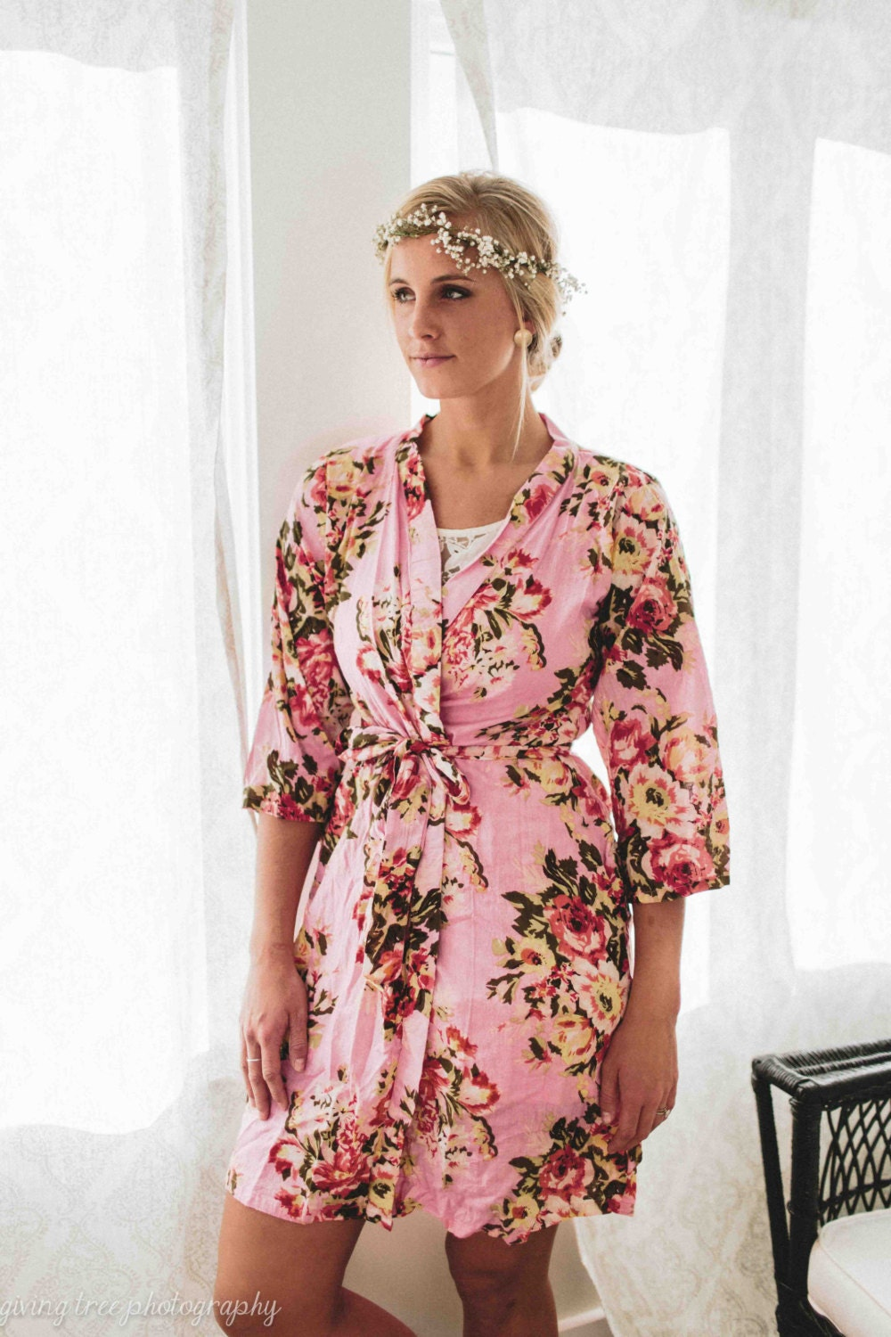 Womens Floral Dress, Pink Kimono Robe, Plus Sise Tunic, Short Party Dress, Cotton Wrap Dress, Beach Dress, Nursing, Boho Chic Dress, 220