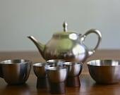 Vintage Mid Century Danish Modern Teak Pewter Royal Holland Coffee Tea Set