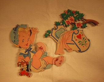 Vintage--Children-Nursery Ryhme Wall Decor-Rock-A-Bye Baby In The Tree Top-Dolly Toy Co.-1952