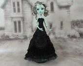 Long black  victorian dress hand made fits Monster High doll