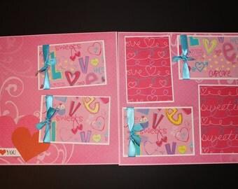 VALENTINE SCRAPBOOK PAGE - 12 x 12 layout - valentines day layout - pink - premade scrapbook page -