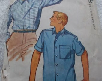 1950s Vintage Simplicity Sewing Pattern 4866 for Men's  Shirt Size Medium