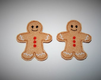Set of 2 Gingerbread Boy Feltie Felt Embellishments