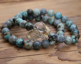 turquoise bracelet beads jewelry bead bracelet beaded bracelet elephant good luck bracelet stacks