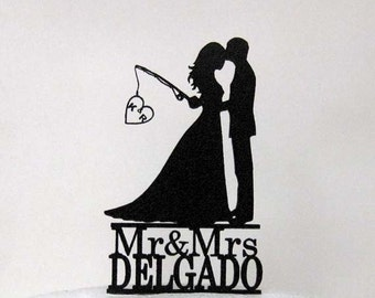 Personalized Wedding Cake Topper - Hooked on Love 2 with personalized Initials + Mr & Mrs last name