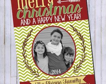 Photo Christmas Card | Chevron Chalkboard | Digital Christmas Card {P13}