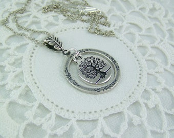 Tree of Life Necklace, Circle of Life, Tree of Life Charm, Circle of Life Necklace, Tree Charm, Silver Tree