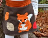 Girl fall applique skirt, kids fall fox skirt, fall fashion, girl toddler fox clothes, brown jersey - made to order