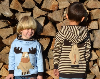 Children Christmas reversible moose/reindeer hoodie,Christmas sweater,kids Christmas gift,toddler Christmas outfit,blue jersey,reversible