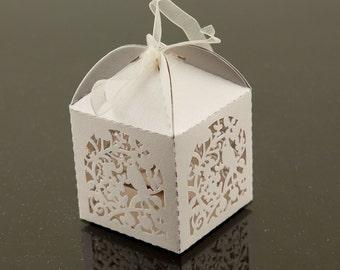 White Garden Bird Laser Cut Paper Favor Boxes Wedding Reception Bridal Baby Shower Sprinkle Valentine's Day Candy Gift Craft