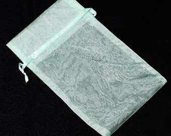 "5.5"" x 9.5"" Mint Green Organza Drawstring Favor Bags Satchet Jewelry Pouch Wedding Baby Shower CD504"