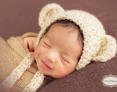 Newborn {Snuggles the Bear} Crochet Bear Bonnet, Newborn Photography Prop, Removable Bow Clip, {Born to be Wild} Collection