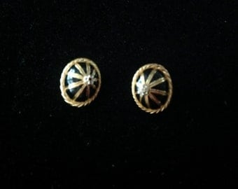 Vintage Gold and Black Christian Dior Clip-On Earrings
