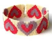 "Beaded bracelet ""Hearts"" - beadwork jewelry - peyote bracelet - love / Valentine's day"