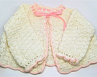 Vintage Hand Crochet Knit Baby Sweater Cotton1960s