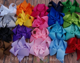 Set of 15 Solid Color Boutique Bows with Tails Hand Sewn and Heat Sealed Collection