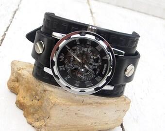 Mens Leather watch, Steampunk Transparent Men's Mechanical Wrist Watch, Leather cuff watch, Skeleton Wrist Watch