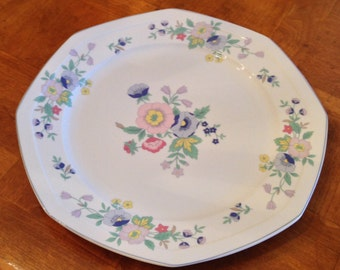 "Christopher Stuart ""Blue Rhapsody"" Round Serving Platter Chop Plate"