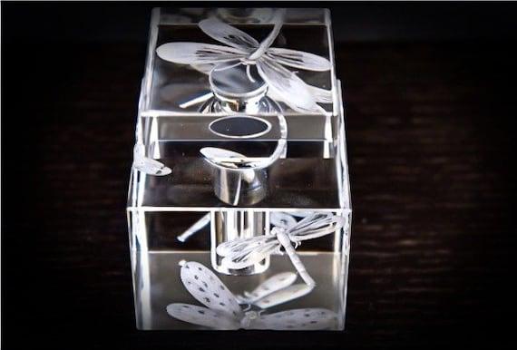 Hand Engraved Perfume Bottle, Oleg Cassini Crystal, Mini Perfume Bottle, Perfume Bottle, Dragon Fly, vanity Tray, Perfume Tray, Crystal