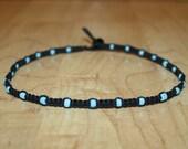 Turquoise Choker Seed Bead Choker - Turquoise Necklace Turquoise Bead Necklace - Black Hemp Choker Necklace - Beaded Choker Beaded Necklace