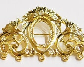 4 of 18x13 mm Shiny Gold Brooch Pin Beautiful Art Deco Settings, Very Nice