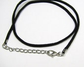 "Black Suede Pendant Necklace Cord 18"", Pendant Charm Necklace Cord, Adjustable Suede Cord 16"" - 18"""